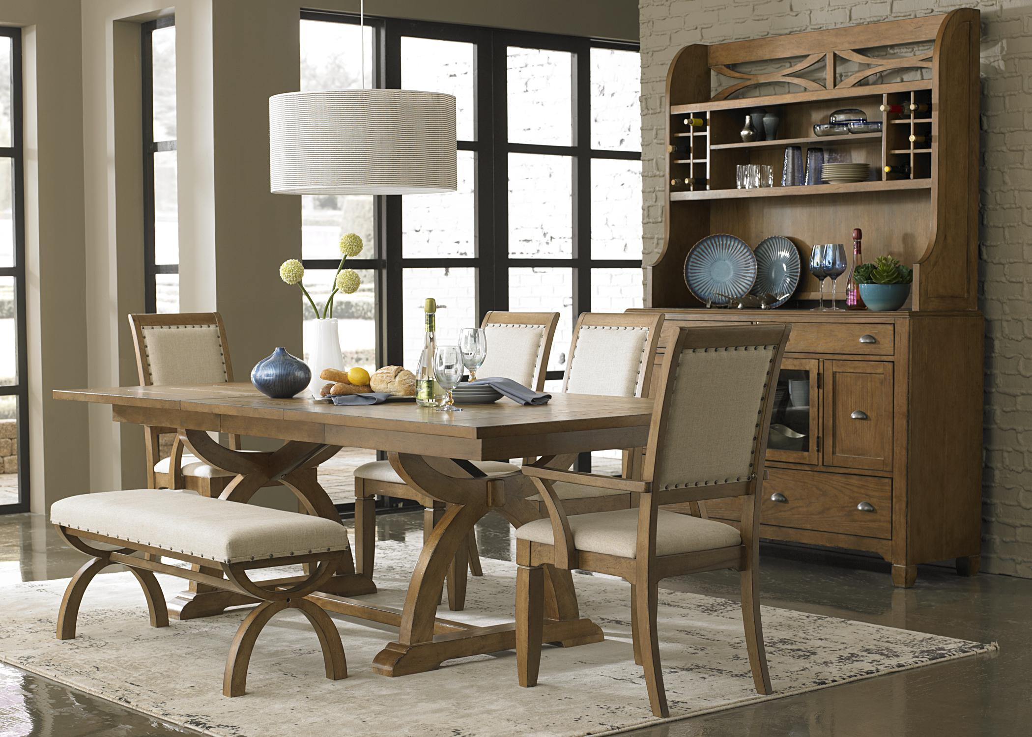 Liberty Furniture Town U0026 Country 7 Piece Trestle Table Set With 4  Upholstered Side Chairs U0026 2 Upholstered Arm Chairs   Westrich Furniture U0026  Appliances ...