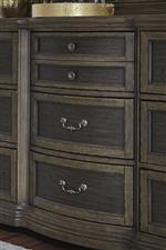 Center bow shaped drawers on dresser