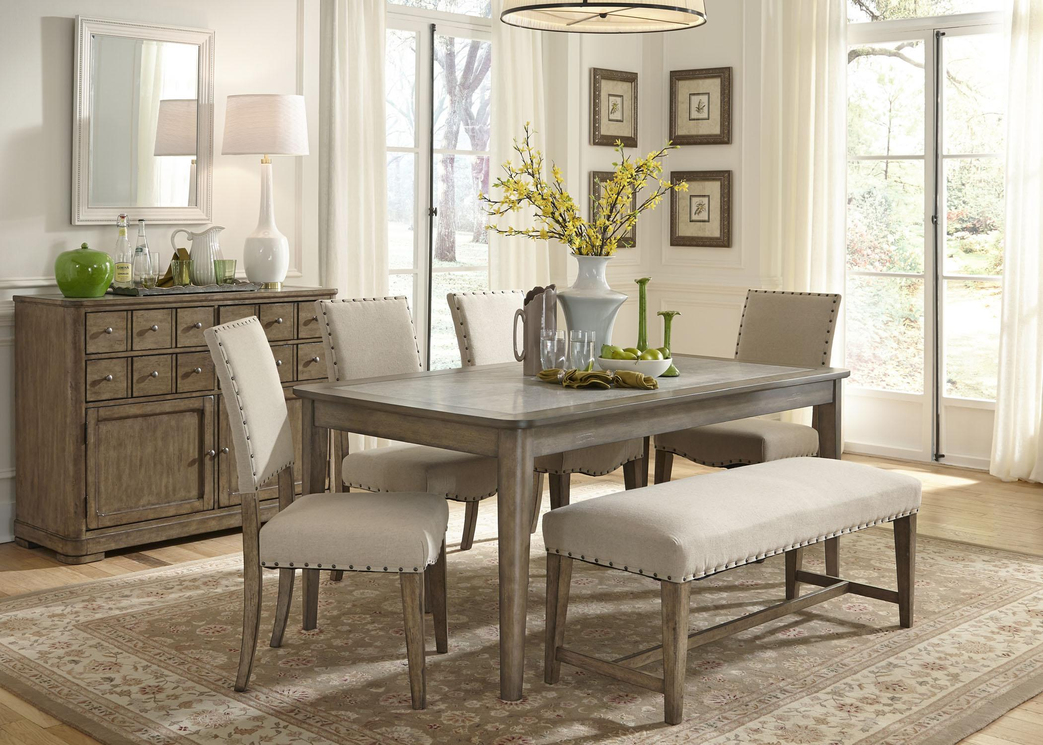 Weatherford Rustic Casual 6 Piece Dining Table And Chairs Set With Bench