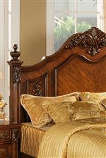 Arched Panel Headboard with Intricate Detailing & Finials