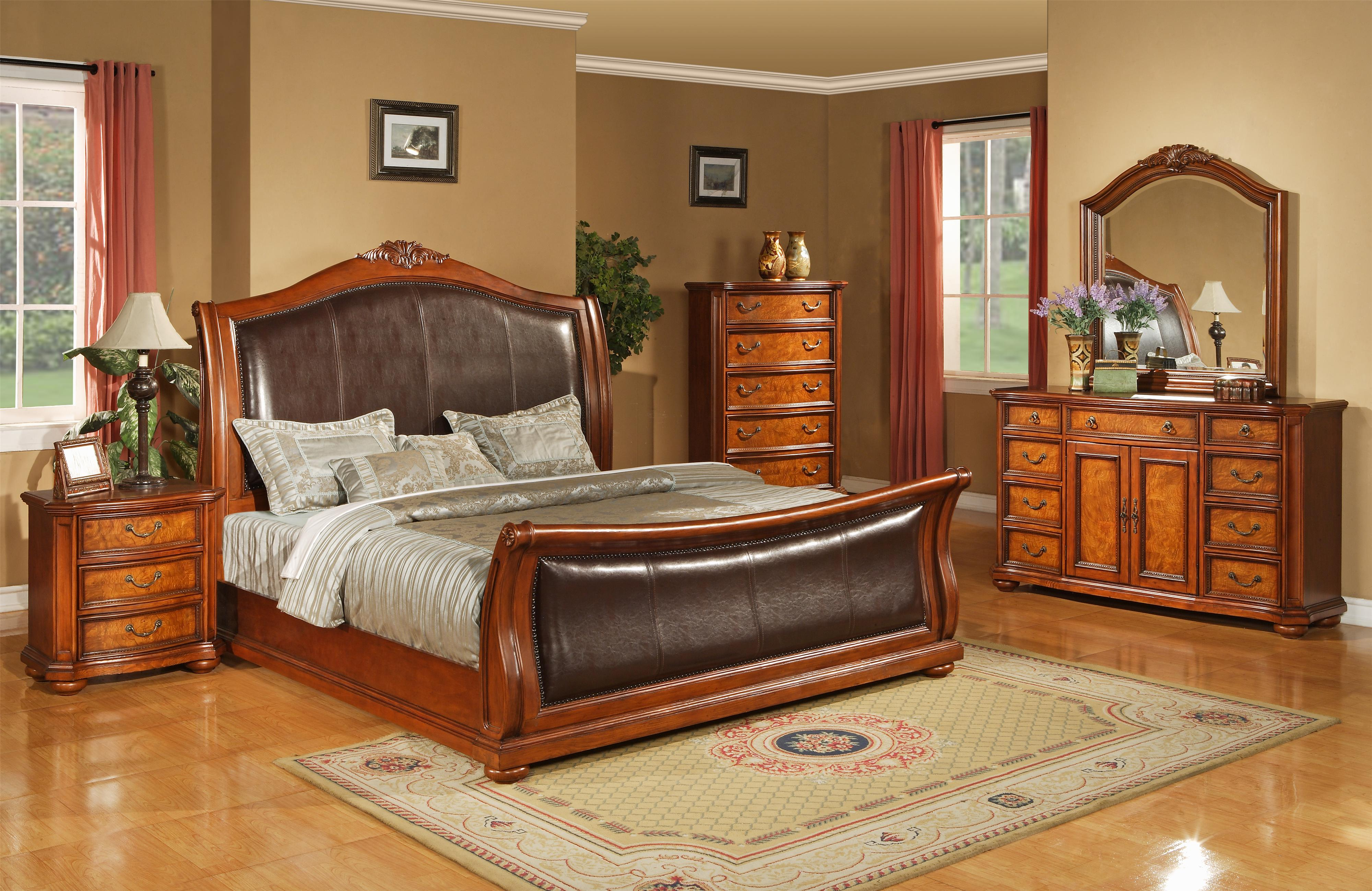 Lifestyle 0243 Ca King Faux Leather Upholstered Sleigh Bed With Acanthus Leaf Carving Bigfurniturewebsite Upholstered Bed