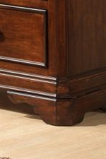 Detail of Bracket Foot and Raised Panel Drawer Front on 7 Drawer Dresser