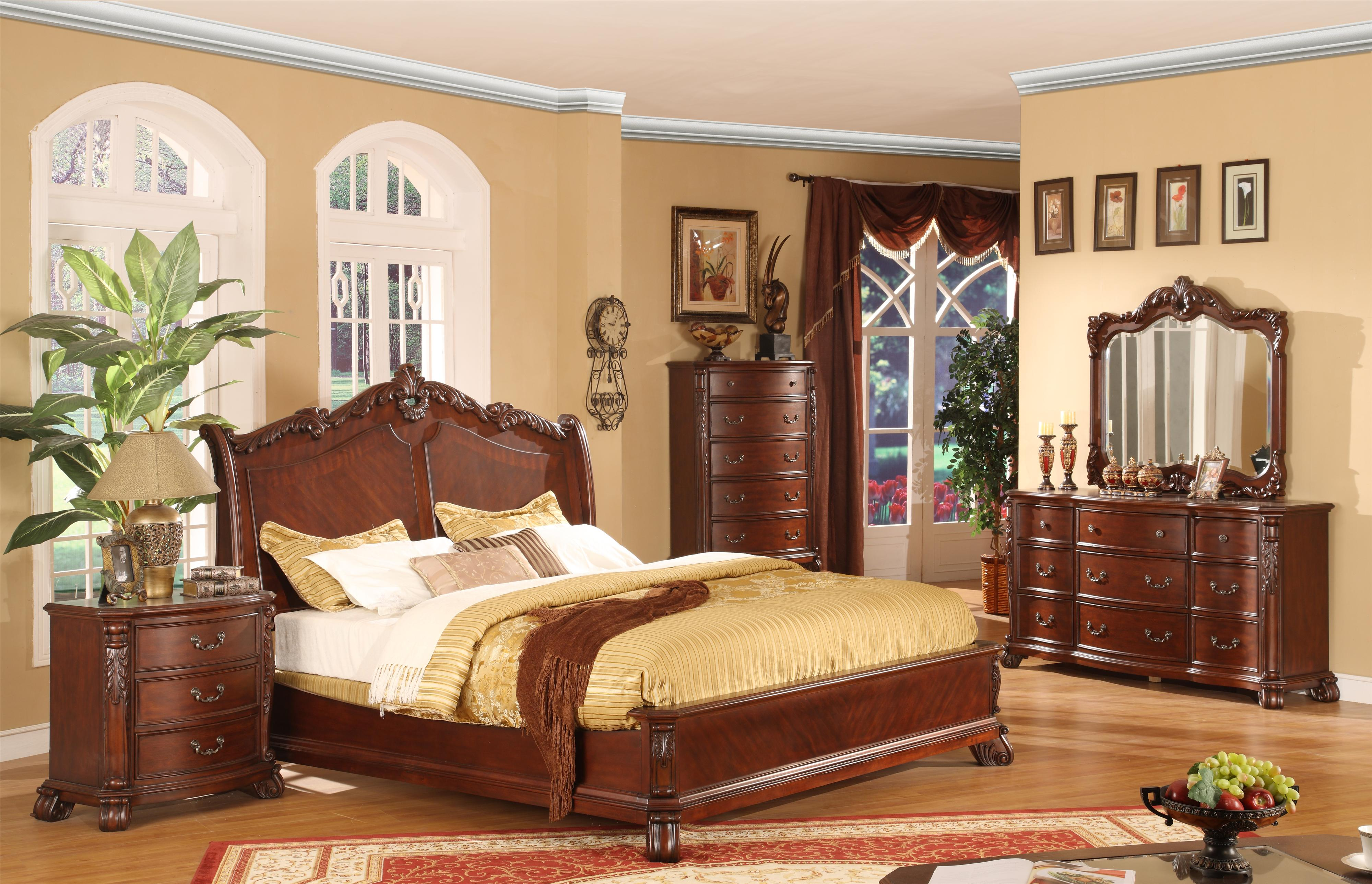 Lifestyle 9642 Traditional Queen Panel Bed with Acanthus Leaf Headboard -  Wayside Furniture - Panel Beds
