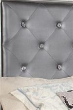 Upholstered Headboard with Rhinestone Accent