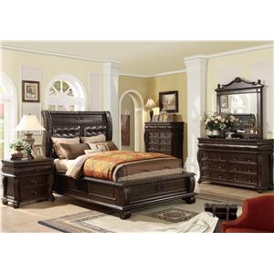 Home Insights Hillsboro Queen Panel Bed w/ Upholstered Headboard