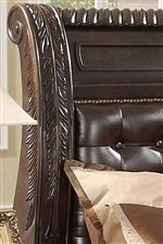 The Headboard Carries Upholstered Padding and Nailhead Trimming