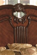Headboard has Gently Arch as well as Palmette Detailing