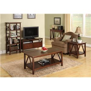 Linon Occasional Tables And Trunks End Table With Base Shelf And Decorative Side Supports