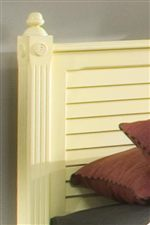 Round Finials, Wood Rosettes, Reed Molding, and Louver Paneling Add a Nice Classic Touch to the Collection