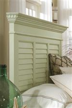 Panel Headboard Incorporates Classic Elements of Dentil and Step Molding, and Louver Panels Into the Design