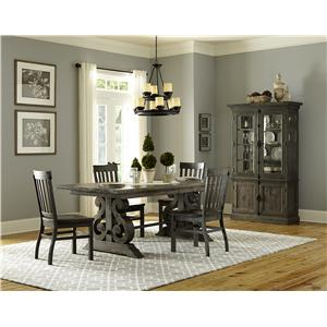 Magnussen Home Bellamy Transitional Four Piece Weathered Gray Dining Set with Butterfly Extension and Bench