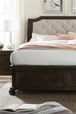 Diamond Tufted Upholstered Headboard and Footboard Drawers