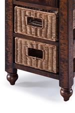 Removable Wicker Baskets and Turned Wood Legs Create A Cozy and Timeless Look