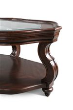 Elegantly Curved Legs with Beveled Mouldings and Clear, Tempered Glass Tops
