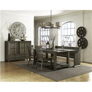 Magnussen Home Karlin Rectangular Table Set with Bench and Chairs
