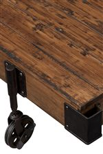 Industrial Style Metal Casters and Planked Tops