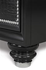 Drawer Faces Feature Crocodile Embossed PVC with Nickel Nail Heads