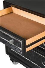Drawer Nightstand Features Felt Lined Top Drawer