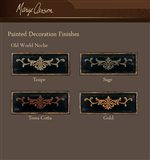 Decorative Painted Finishes Offered in Five Styles and Four Color Selections Enhance Select Pieces