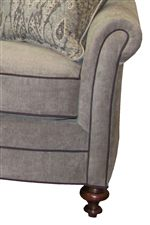 Pillow Topped Flare Arms with Contrasting Piping and Hand Turned Legs