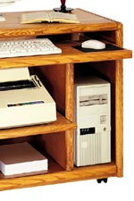 Functional features include extra-wide keyboard pull-outs, CPU storage, and printer storage shelving.