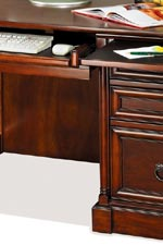 Most office furniture features pull-out keyboard drawers, and some have additional pull-out dictation trays