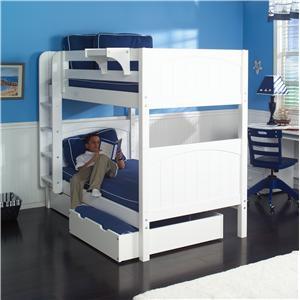 Maxtrix Hot Shot 1 White Bunk Bed with Under Bed Storage Unit