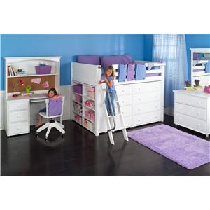 Maxtrix Kong Full Size Loft Bed with Built-in Dressers and Shelves