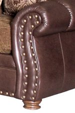 Gorgeous Spool Legs with Optional Nailhead Trim on Arms and Rail