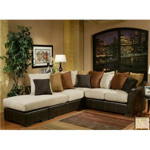 Michael Nicholas Sunset Fabric Faux Leather Sectional