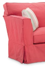 The slipcover is tailored to fit the frame style.