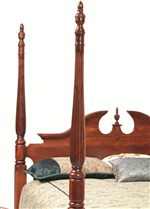 Poster Bed with with Center Finnial and Arched Top with Decorative Cutouts and Molding Details