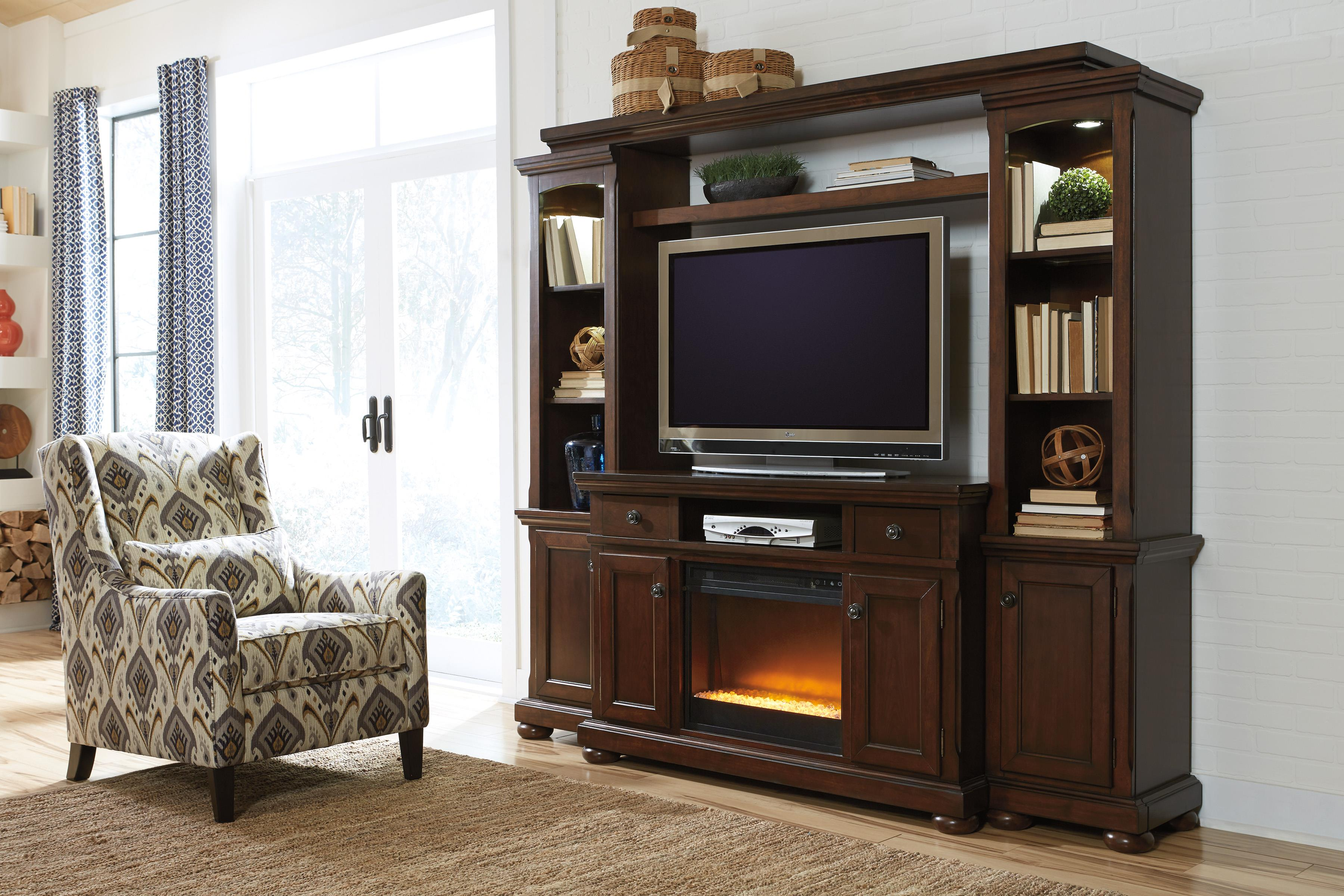 Millennium Porter Transitional Cherry 72 Extra Large Tv Stand
