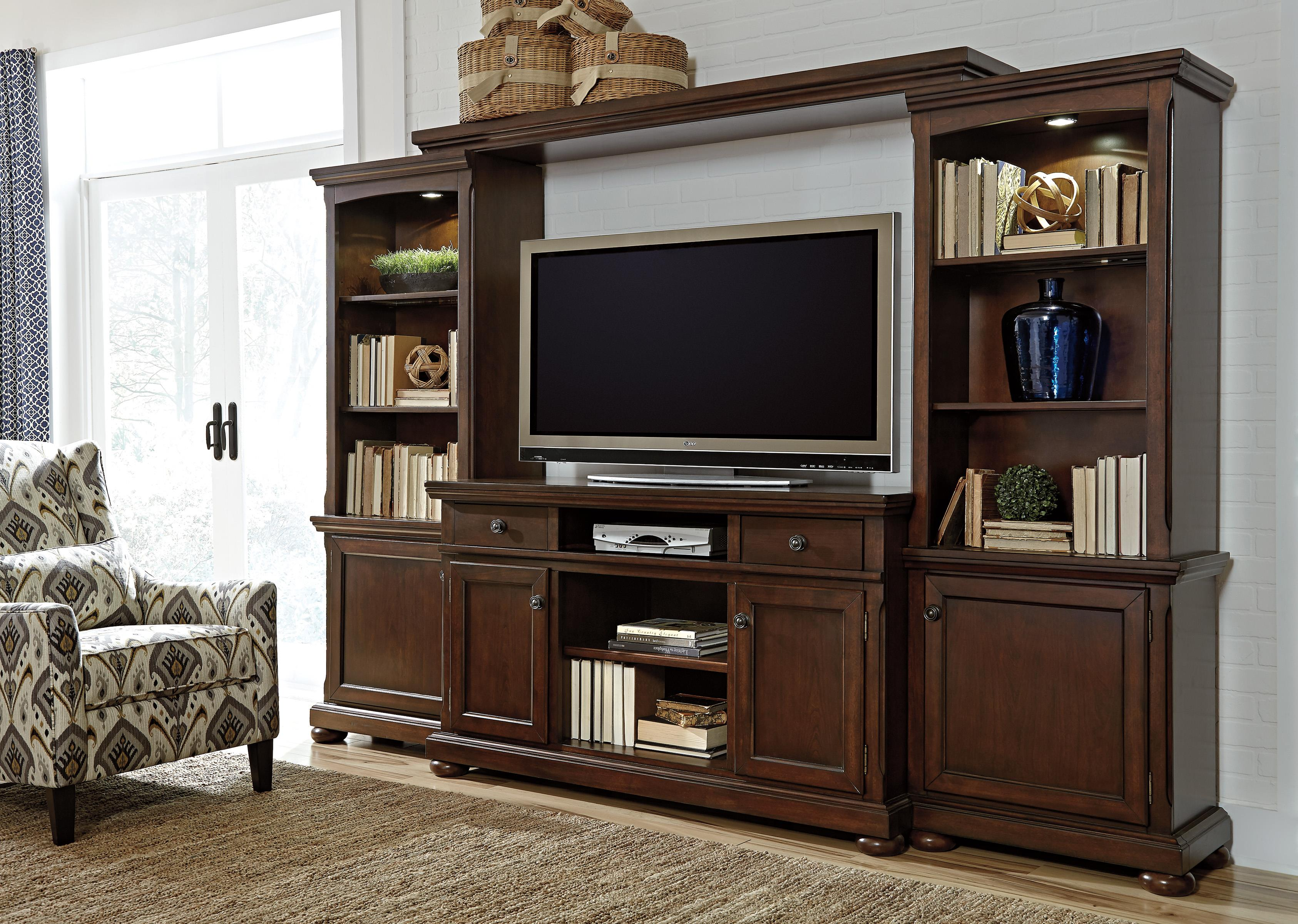 Porter Entertainment Wall Unit w TV Stand Bridge and Piers