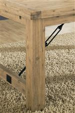 Block Feet with Industrial Style Metal Supports