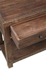Modus International Craster   Reclaimed Wood Rectangular Coffee Table in Smoky Taupe