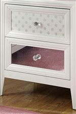 Detail of 2 Options for Reversible Drawer Front Panels: Polka Dot and Mirror