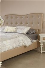 This Bedroom Looks Incredibly Chic with a Button-Tufted Headboard and Faux Crystal Buttons