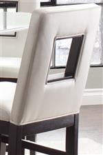 Counter Height Chairs Upholstered in Cream-Colored Faux Leather (Polyurethane)
