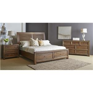 Warehouse M Verone Queen Solid Wood Storage Bed with 2 Footboard Drawers