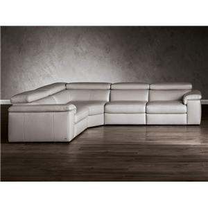 Natuzzi Editions B620 5 Piece Contemporary Power Reclining Sectional Sofa with Console