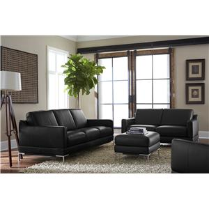 Natuzzi Editions B754 Contemporary Loveseat with Track Arms