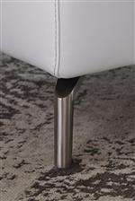 Sleek Foot Design Available in Wood and Metal Finishes