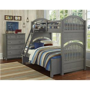NE Kids Lake House Twin Over Full Bunk Bed with Arched Headboard and Footboard