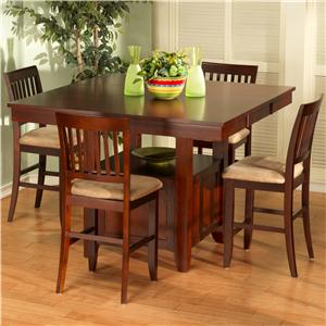 New Classic Brendan 6 Piece Storage Pub Table, Bench, and Counter Chair Set