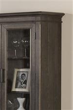 Wine cabinet top and glass door detail