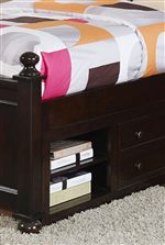 Rounded Finials and Storage in Bed Base