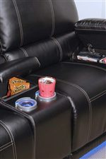 Lighted Cup Holders and Hidden Storage