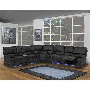New Classic Electra  Contemporary Power Motion Console Loveseat with Cup Holders and Storage