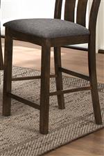 Linen-like Upholstered Seat Cushion and Stretchers Connecting Legs